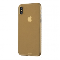 0.3mm Ultra thin Plastic Back Case Cover for Apple iPhone XS Max (Gold)