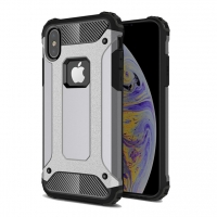 Hybrid Dual Layer Tough Armor Protective Case for Apple iPhone XS Max (Grey)