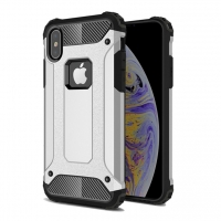 Hybrid Dual Layer Tough Armor Protective Case for Apple iPhone XS Max (Silver)