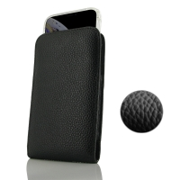 Leather Vertical Pouch Case for Apple iPhone XS Max ( Compatible with 1.0 mm Slim Case / Cover on ) (Black Pebble Leather/Black Stitch)