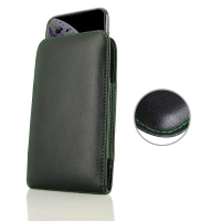 Leather Vertical Pouch Case for Apple iPhone XS Max ( Compatible with 1.0 mm Slim Case / Cover on ) (Green Stitch)