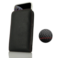 Leather Vertical Pouch Case for Apple iPhone XS Max ( Compatible with 1.0 mm Slim Case / Cover on ) (Black Pebble Leather/Red Stitch)