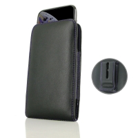 Leather Vertical Pouch Belt Clip Case for Apple iPhone XS Max (in Slim Case/Cover) (Purple Stitch)