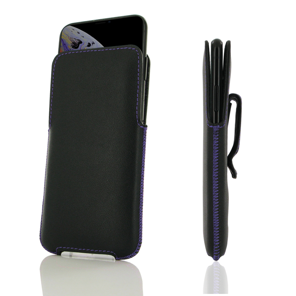 new arrival 6097a b7645 Luxury Leather Pouch Belt Clip Case for Apple iPhone XS Max (Purple Stitch)