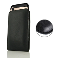 Leather Vertical Pouch Case for Apple iPhone XS Max (in Large Size Armor Protective Case Cover) (Black Stitch)