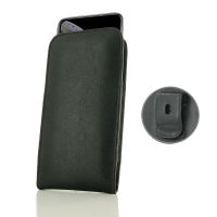 Leather Vertical Pouch Belt Clip Case for Apple iPhone XS (Black Stitch)