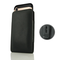 Leather Vertical Pouch Belt Clip Case for Apple iPhone XS (in Large Size Armor Protective Case Cover) (Black Stitch)