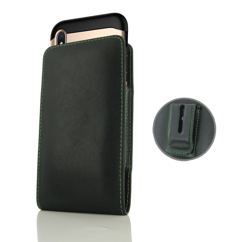 10% OFF + FREE SHIPPING, Buy the BEST PDair Handcrafted Premium Protective Carrying iPhone XS (in Large Size Cover) Pouch Clip Case (Green Stitch). Exquisitely designed engineered for iPhone XS.