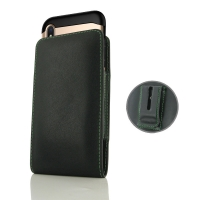 Leather Vertical Pouch Belt Clip Case for Apple iPhone XS (in Large Size Armor Protective Case Cover) (Green Stitch)