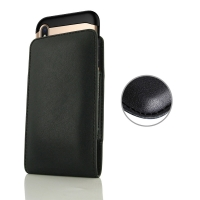 Leather Vertical Pouch Case for Apple iPhone XS (in Large Size Armor Protective Case Cover) (Black Stitch)