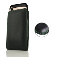 Leather Vertical Pouch Case for Apple iPhone XS (in Large Size Armor Protective Case Cover) (Green Stitch)