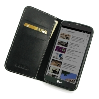 LG K10 Leather Smart Flip Wallet Case PDair Premium Hadmade Genuine Leather Protective Case Sleeve Wallet