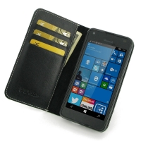 Microsoft Lumia 550 Leather Smart Flip Wallet Case PDair Premium Hadmade Genuine Leather Protective Case Sleeve Wallet