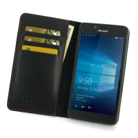 Leather Book Stand Wallet Case for Microsoft Lumia 950 (Red Stitch)