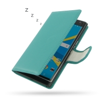 BlackBerry Priv Leather Flip Wallet Cover (Aqua) PDair Premium Hadmade Genuine Leather Protective Case Sleeve Wallet
