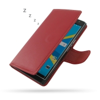 BlackBerry Priv Leather Flip Wallet Cover (Red) PDair Premium Hadmade Genuine Leather Protective Case Sleeve Wallet