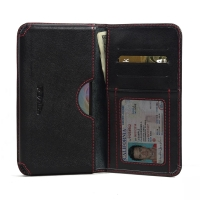 Leather Card Wallet for Acer Liquid Z630 (Red Stitch)