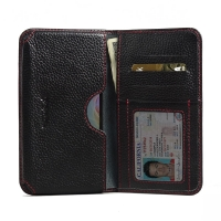 Leather Card Wallet for Acer Liquid Z630 (Black Pebble Leather/Red Stitch)