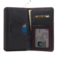 BlackBerry Priv Leather Wallet Sleeve Case (Red Stitch) PDair Premium Hadmade Genuine Leather Protective Case Sleeve Wallet
