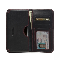 Huawei G7 Plus Leather Wallet Sleeve Case (Red Stitch) PDair Premium Hadmade Genuine Leather Protective Case Sleeve Wallet