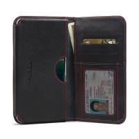 Nexus 6P Leather Wallet Sleeve Case (Red Stitch) PDair Premium Hadmade Genuine Leather Protective Case Sleeve Wallet