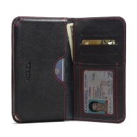 Huawei Honor 5X Leather Wallet Sleeve Case (Red Stitch) PDair Premium Hadmade Genuine Leather Protective Case Sleeve Wallet