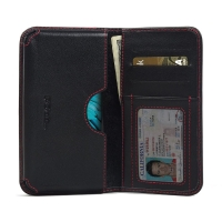 LG K10 Leather Wallet Sleeve Case (Red Stitch) PDair Premium Hadmade Genuine Leather Protective Case Sleeve Wallet