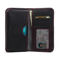LG K10 Leather Wallet Sleeve Case (Red Stitching) PDair Premium Hadmade Genuine Leather Protective Case Sleeve Wallet