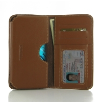 LG K10 Leather Wallet Sleeve Case (Brown) PDair Premium Hadmade Genuine Leather Protective Case Sleeve Wallet