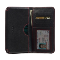 Leather Card Wallet for LG V10 (Red Stitch)