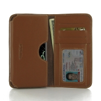 LG Zero Leather Wallet Sleeve Case (Brown) PDair Premium Hadmade Genuine Leather Protective Case Sleeve Wallet
