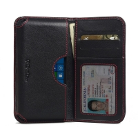 Microsoft Lumia 550 Leather Wallet Sleeve Case (Red Stitch) PDair Premium Hadmade Genuine Leather Protective Case Sleeve Wallet