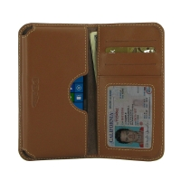 Microsoft Lumia 550 Leather Wallet Sleeve Case (Brown) PDair Premium Hadmade Genuine Leather Protective Case Sleeve Wallet