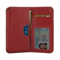 Microsoft Lumia 550 Leather Wallet Sleeve Case (Red) PDair Premium Hadmade Genuine Leather Protective Case Sleeve Wallet