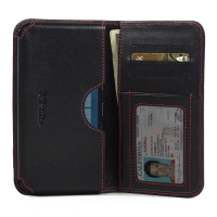 Leather Card Wallet for Microsoft Lumia 950 (Red Stitch)