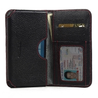 Leather Card Wallet for Microsoft Lumia 950 (Black Pebble Leather/Red Stitch)