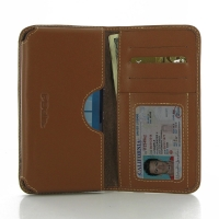 Microsoft Lumia 950 XL Leather Wallet Sleeve Case (Brown) PDair Premium Hadmade Genuine Leather Protective Case Sleeve Wallet