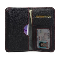 Leather Card Wallet for Motorola Moto G (Gen 3) (Black Pebble Leather/Red Stitch)