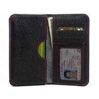 Leather Card Wallet for Motorola Moto X Play (Black Pebble Leather/Red Stitch)