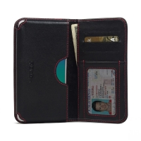 Leather Card Wallet for OPPO R9 (Red Stitch)