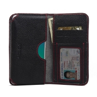 Leather Card Wallet for OPPO R9 (Black Pebble Leather/Red Stitch)