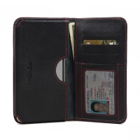Leather Card Wallet for Pepsi Phone P1 P1s (Red Stitch)