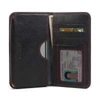 Leather Card Wallet for Pepsi Phone P1 P1s (Black Pebble Leather/Red Stitch)
