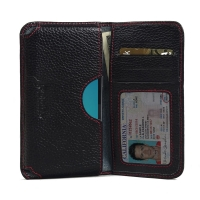 Leather Card Wallet for Samsung Galaxy J1 (2016) (Black Pebble Leather/Red Stitch)