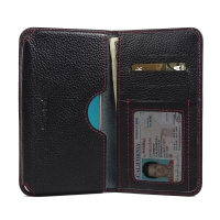Leather Card Wallet for Samsung Galaxy J7 (2016) (Black Pebble Leather/Red Stitch)