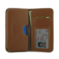 Samsung Galaxy S7 edge Leather Wallet Sleeve Case (Brown) PDair Premium Hadmade Genuine Leather Protective Case Sleeve Wallet