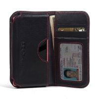 Leather Card Wallet for Sony Xperia Z5 Compact (Red Stitch)