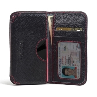 Leather Card Wallet for Sony Xperia Z5 Compact (Black Pebble Leather/Red Stitch)