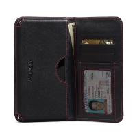 Leather Card Wallet for Sony Xperia Z5 Premium (Red Stitch)