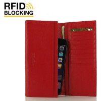 Continental Leather RFID Blocking Wallet Case (Red Pebble Leather)